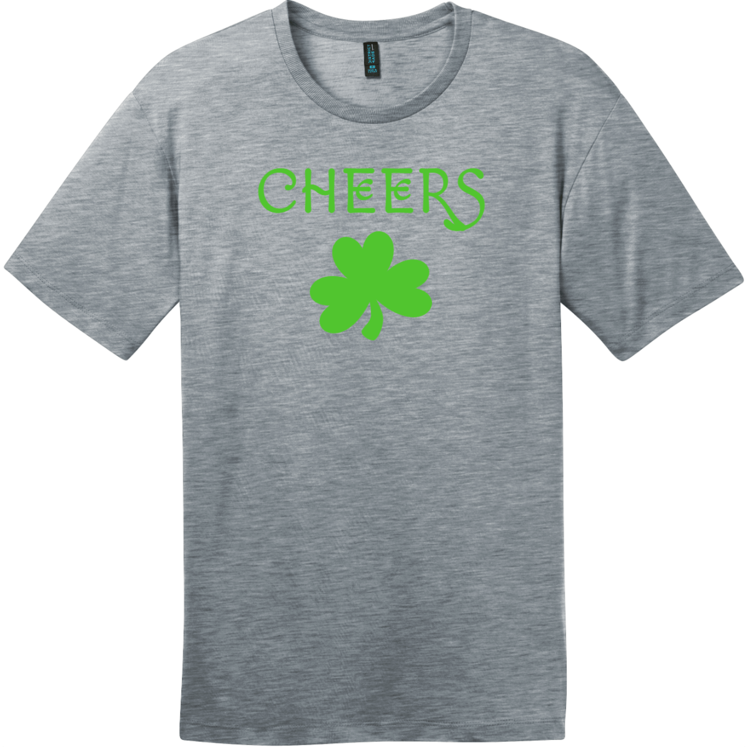 Cheers Shamrock St. Patricks Day T Shirt Heathered Steel District Perfect Weight Tee DT104