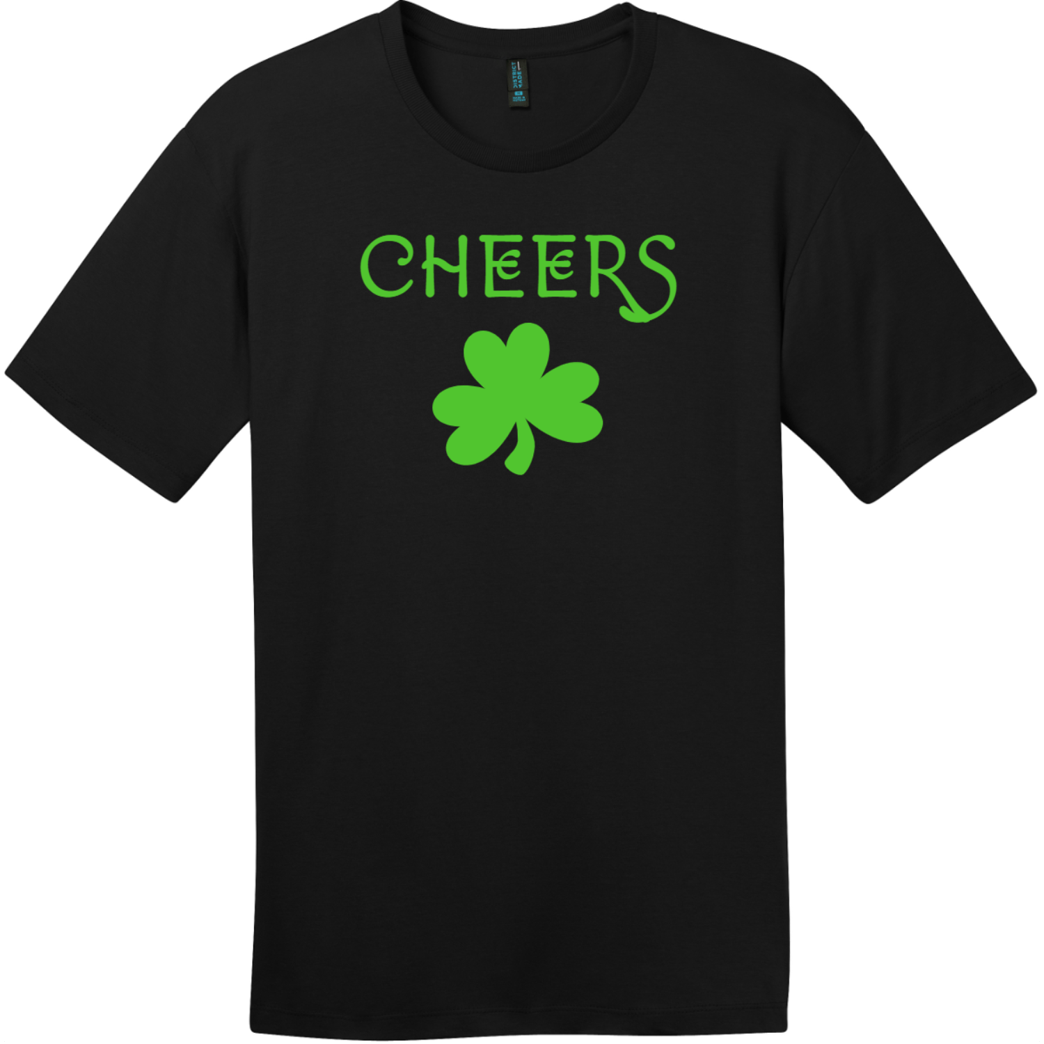 Cheers Shamrock St. Patricks Day T Shirt Jet Black District Perfect Weight Tee DT104