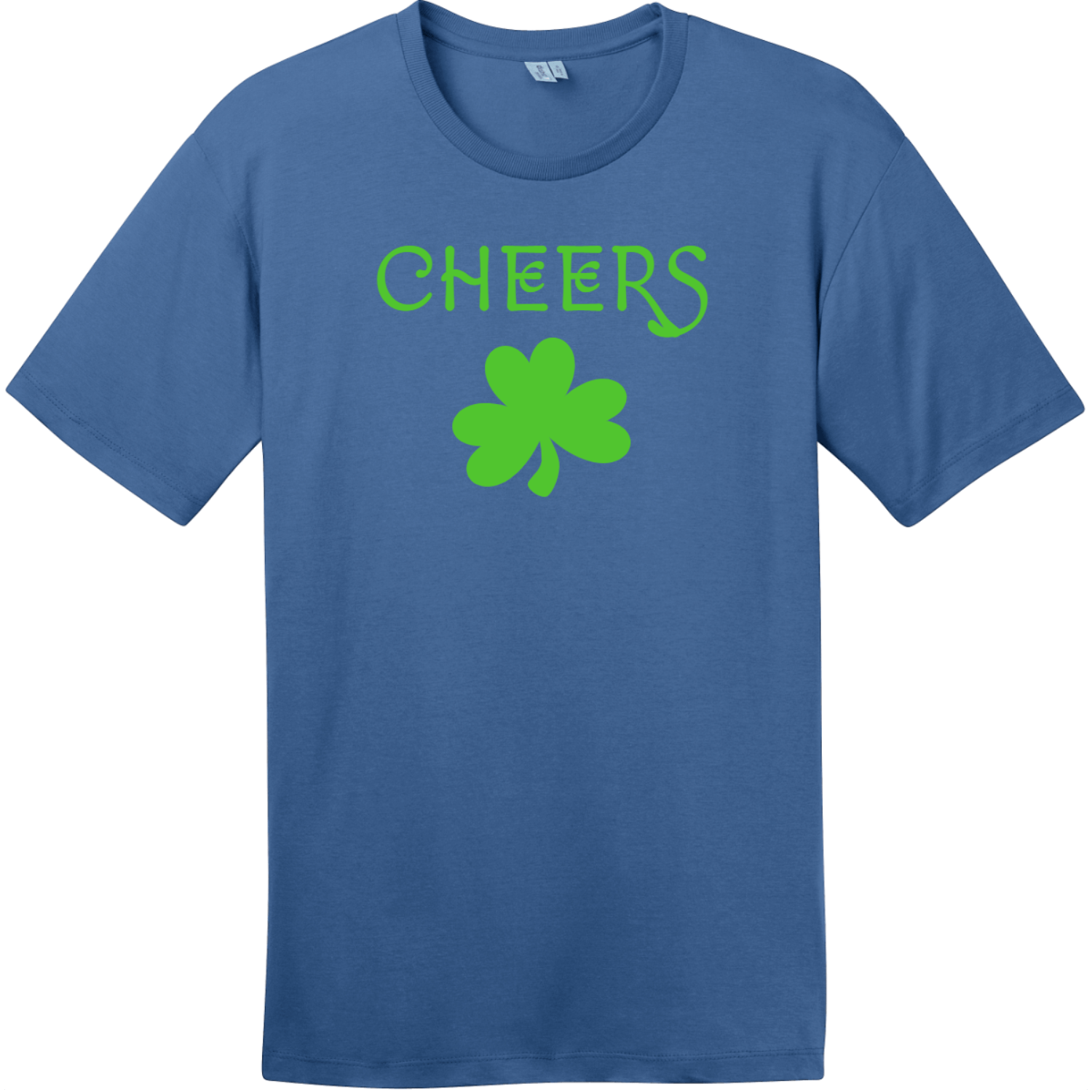 Cheers Shamrock St. Patricks Day T Shirt Maritime Blue District Perfect Weight Tee DT104
