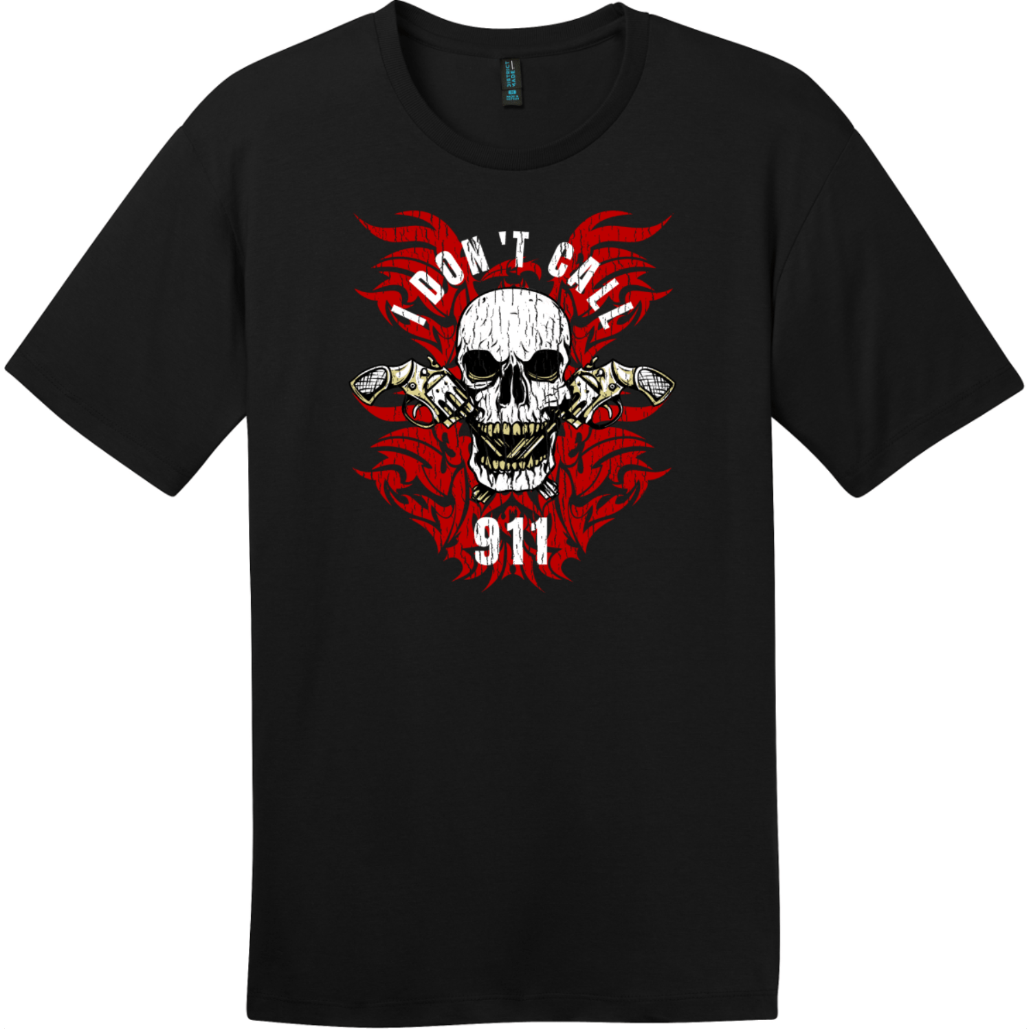 I Dont Call 911 T-Shirt Jet Black District Perfect Weight Tee DT104