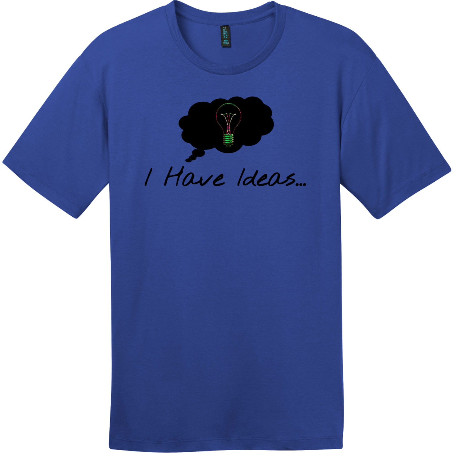 I Have Ideas Light Bulb T-Shirt Deep Royal District Perfect Weight Tee DT104