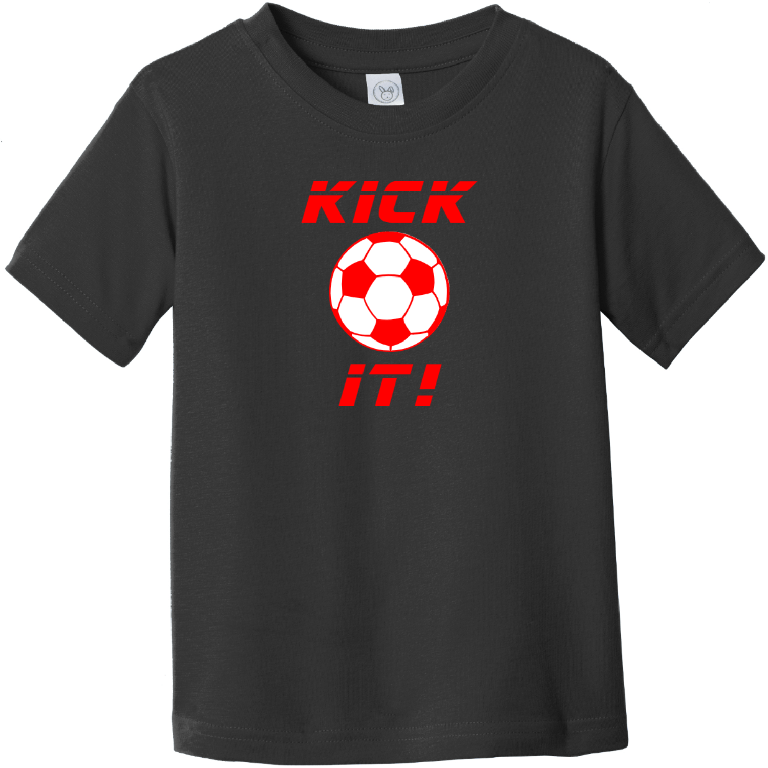 Kick It Soccer Toddler T-Shirt Black Rabbit Skins Toddler Fine Jersey Tee RS3321