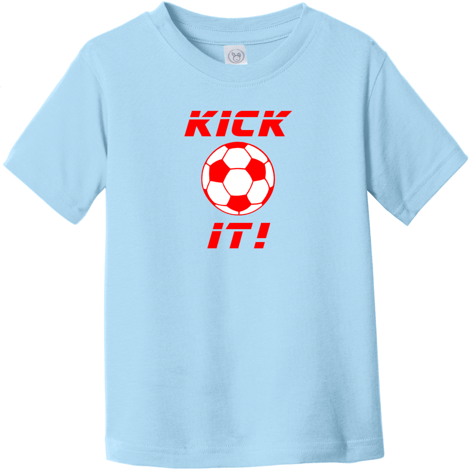 Kick It Soccer Toddler T-Shirt Light Blue Rabbit Skins Toddler Fine Jersey Tee RS3321
