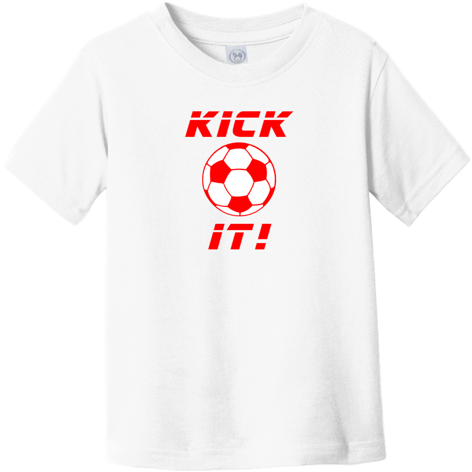 Kick It Soccer Toddler T-Shirt White Rabbit Skins Toddler Fine Jersey Tee RS3321