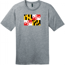 Maryland State Flag T-Shirt Heathered Steel District Perfect Weight Tee DT104