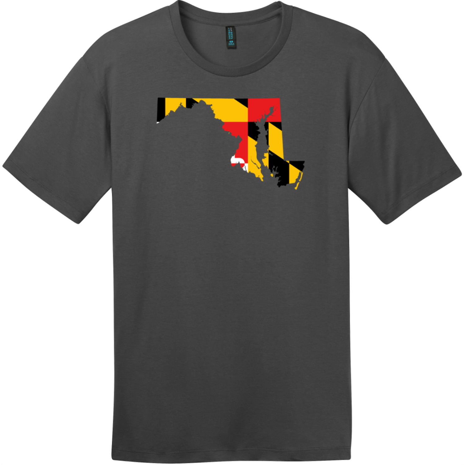 Maryland State Shaped Flag T-Shirt Charcoal District Perfect Weight Tee DT104