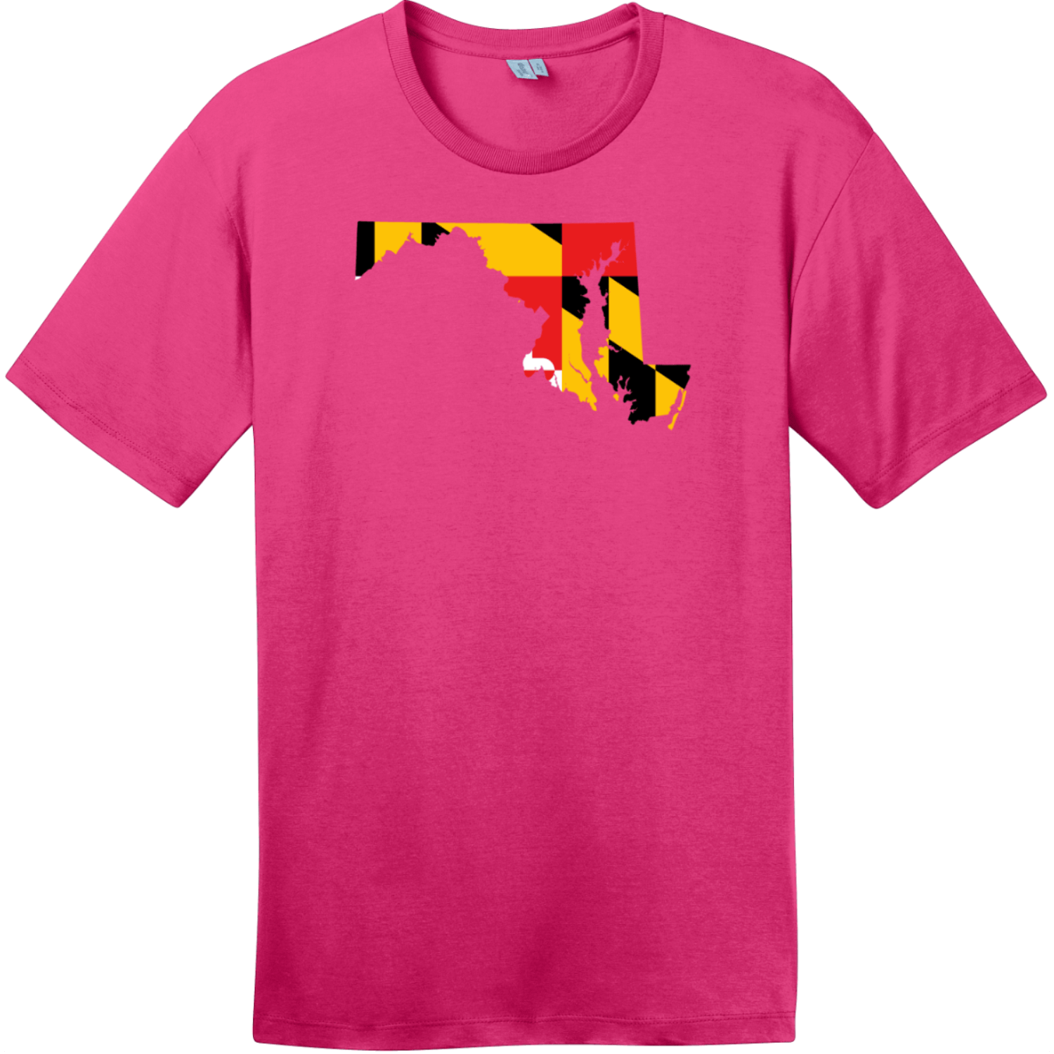 Maryland State Shaped Flag T-Shirt Dark Fuchsia District Perfect Weight Tee DT104
