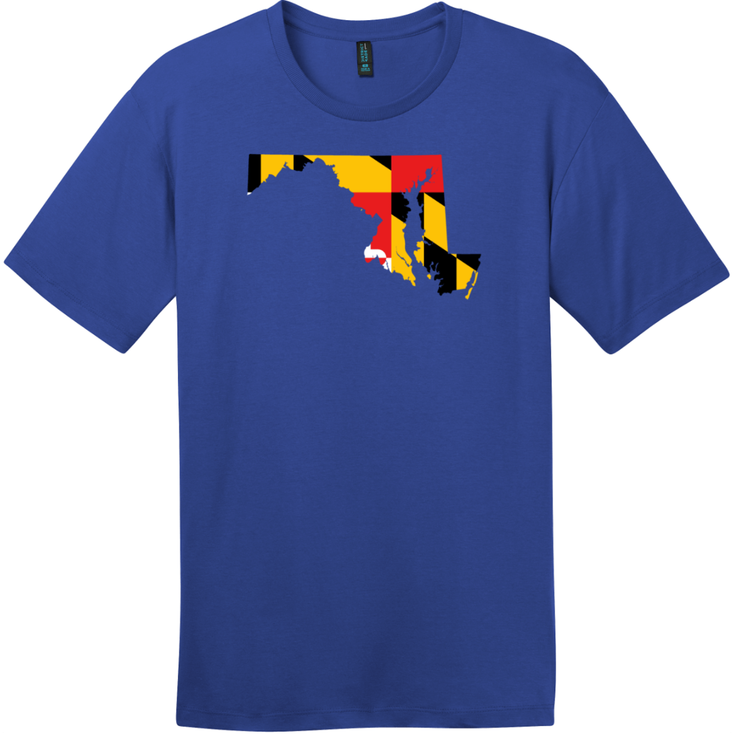 Maryland State Shaped Flag T-Shirt Deep Royal District Perfect Weight Tee DT104