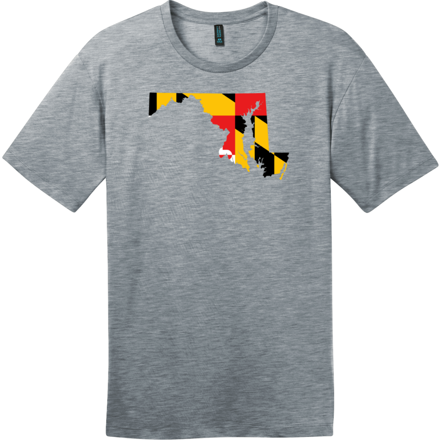 Maryland State Shaped Flag T-Shirt Heathered Steel District Perfect Weight Tee DT104