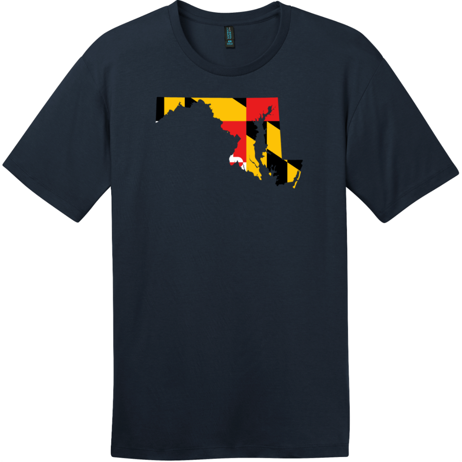 Maryland State Shaped Flag T-Shirt New Navy District Perfect Weight Tee DT104