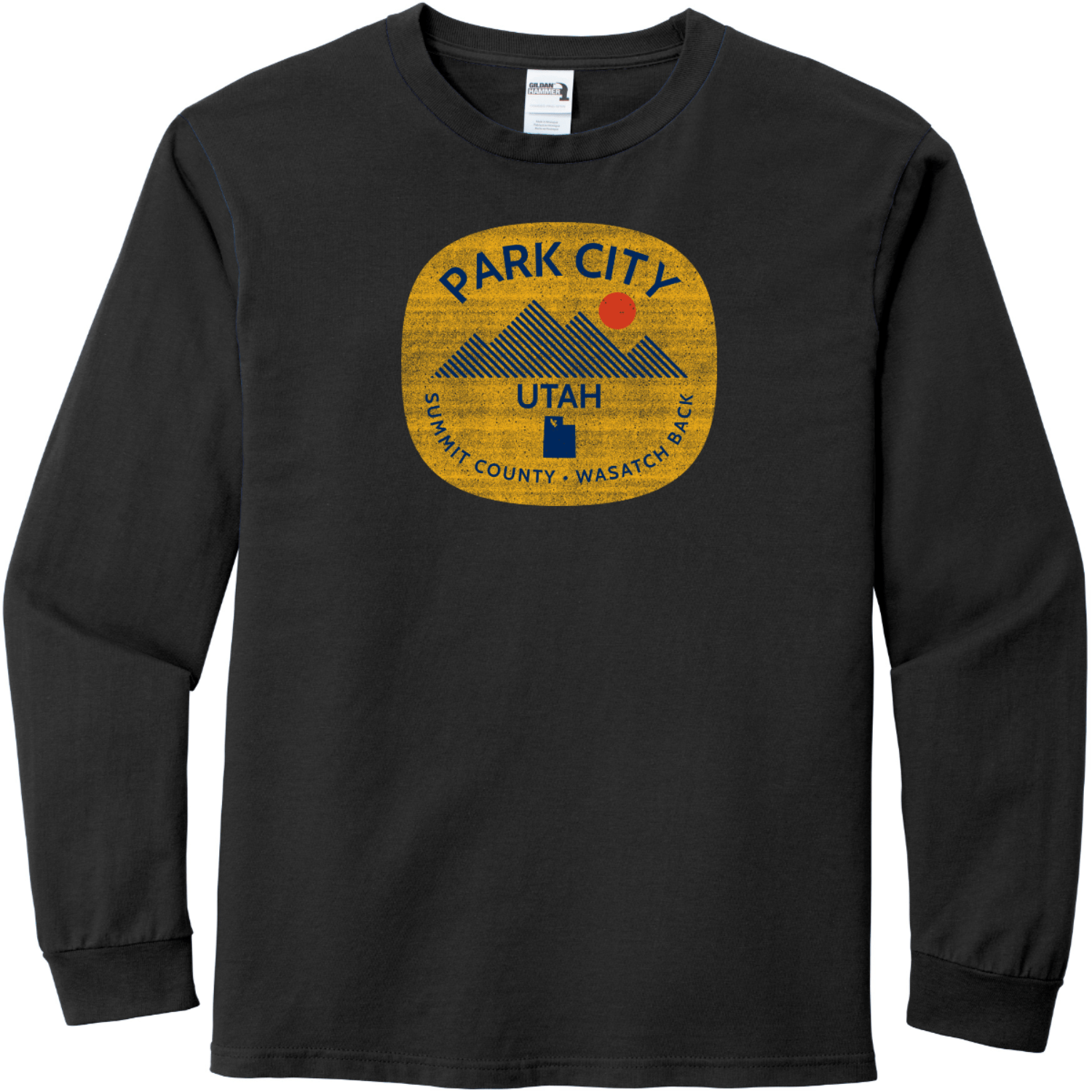 Park City Utah Long Sleeve T-Shirt Black Gildan Hammer Long Sleeve T Shirt
