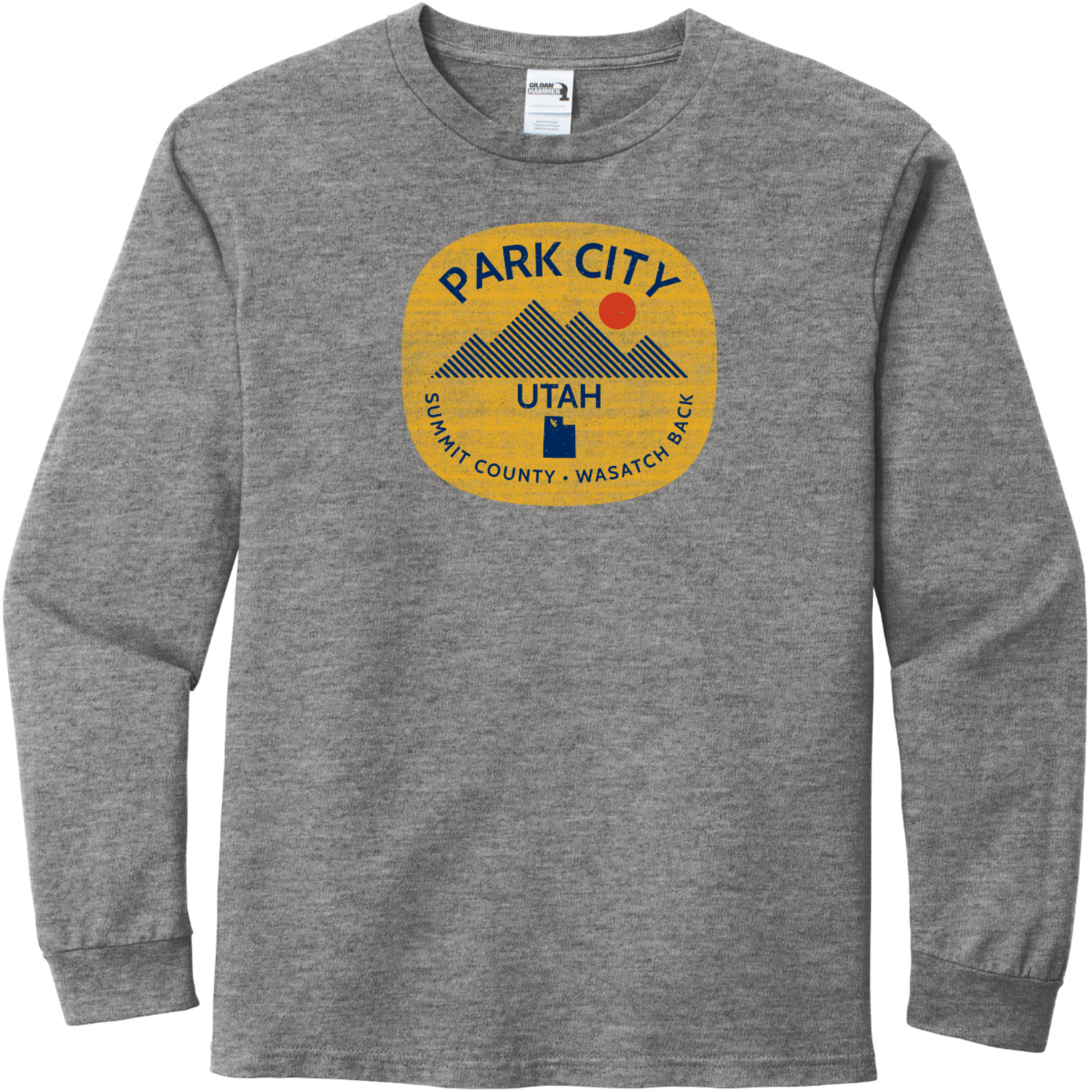 Park City Utah Long Sleeve T-Shirt Graphite Heather Gildan Hammer Long Sleeve T Shirt