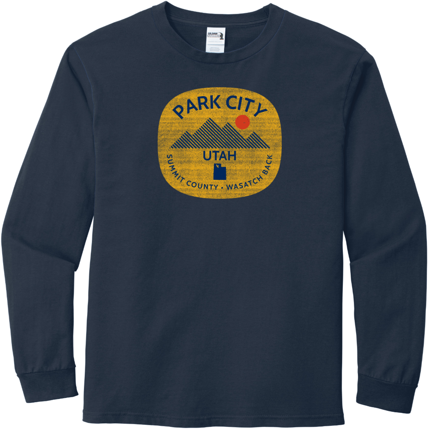 Park City Utah Long Sleeve T-Shirt Sport Dark Navy Gildan Hammer Long Sleeve T Shirt