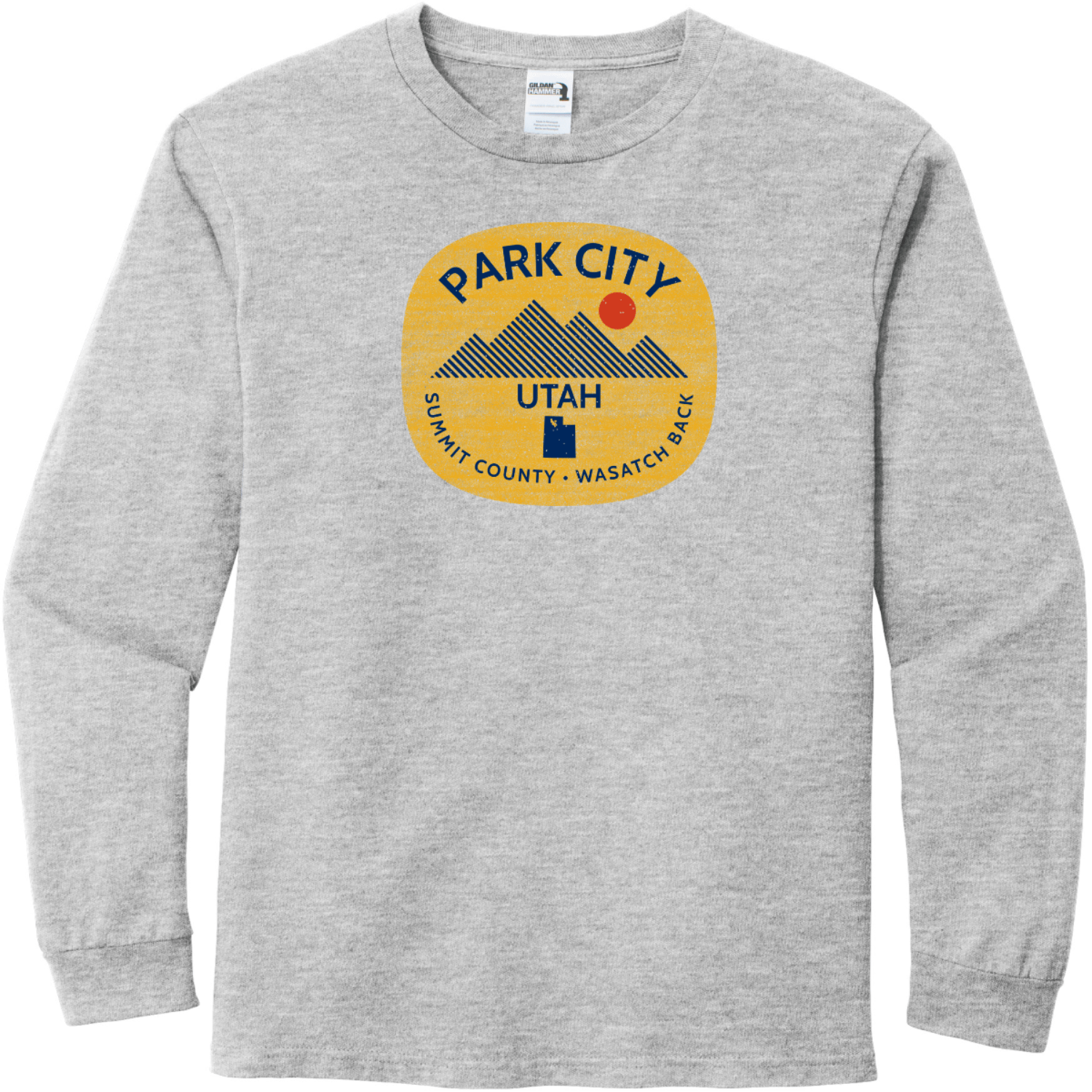 Park City Utah Long Sleeve T-Shirt Sport Gray Gildan Hammer Long Sleeve T Shirt