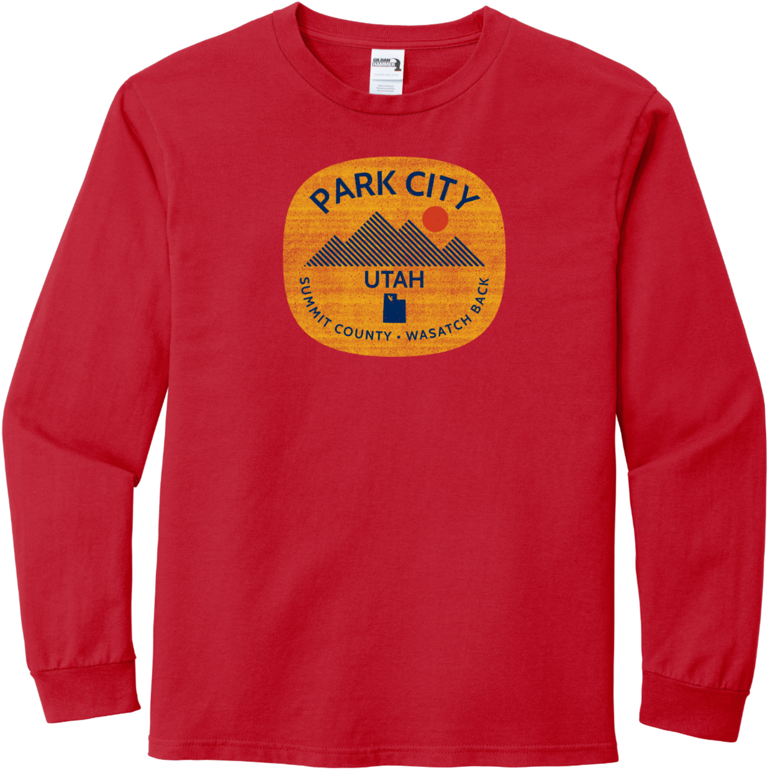 Park City Utah Long Sleeve T-Shirt Sport Scarlet Red Gildan Hammer Long Sleeve T Shirt