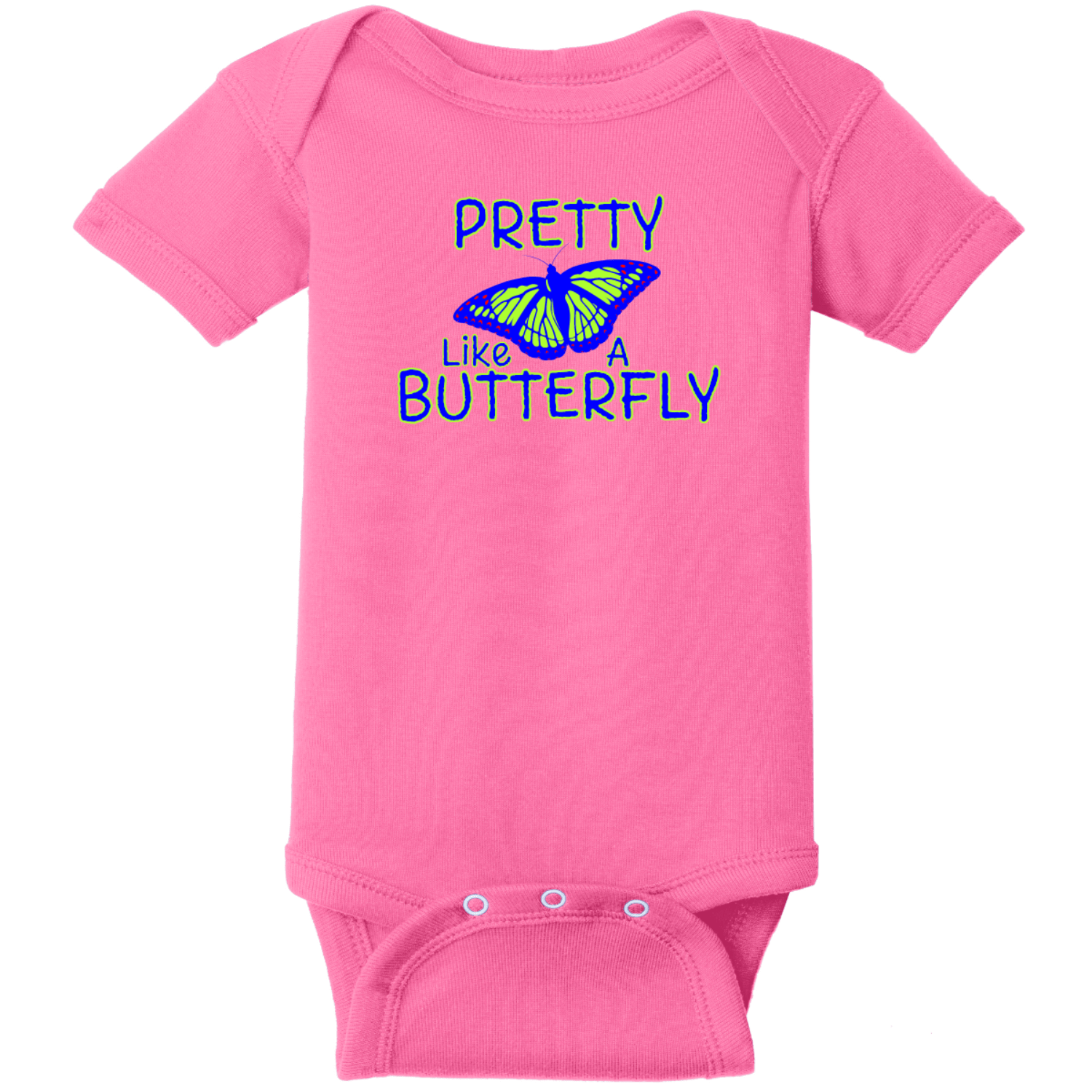 Pretty Like A Butterfly Baby Bodysuit Hot Pink Rabbit Skins Infant Short Sleeve Infant Rib Bodysuit RS4400