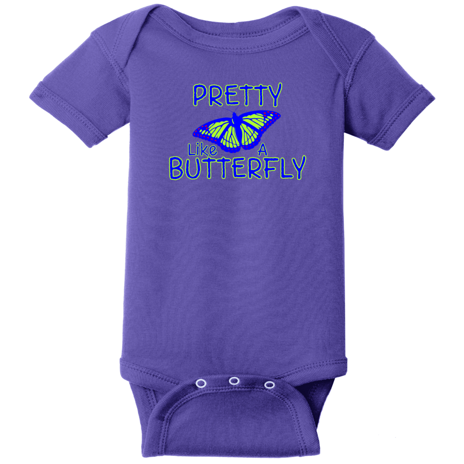 Pretty Like A Butterfly Baby Bodysuit Purple Rabbit Skins Infant Short Sleeve Infant Rib Bodysuit RS4400