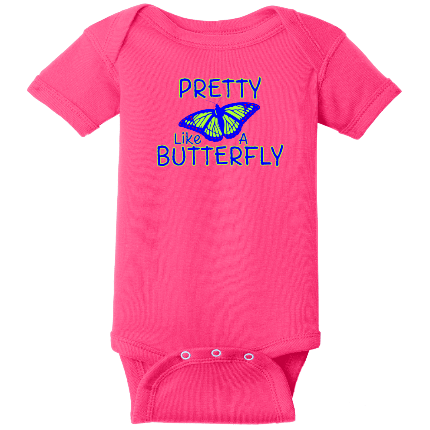 Pretty Like A Butterfly Baby Bodysuit Raspberry Rabbit Skins Infant Short Sleeve Infant Rib Bodysuit RS4400