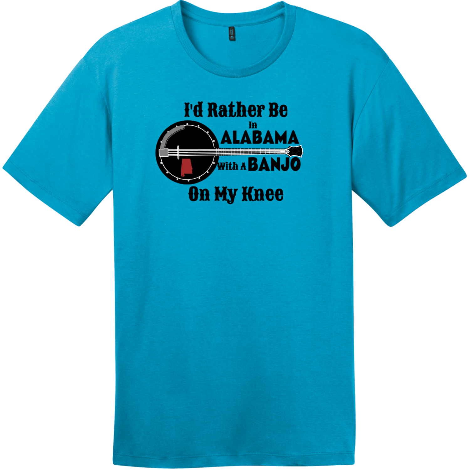 Rather Be In Alabama Banjo T-Shirt Bright Turquoise District Perfect Weight Tee DT104