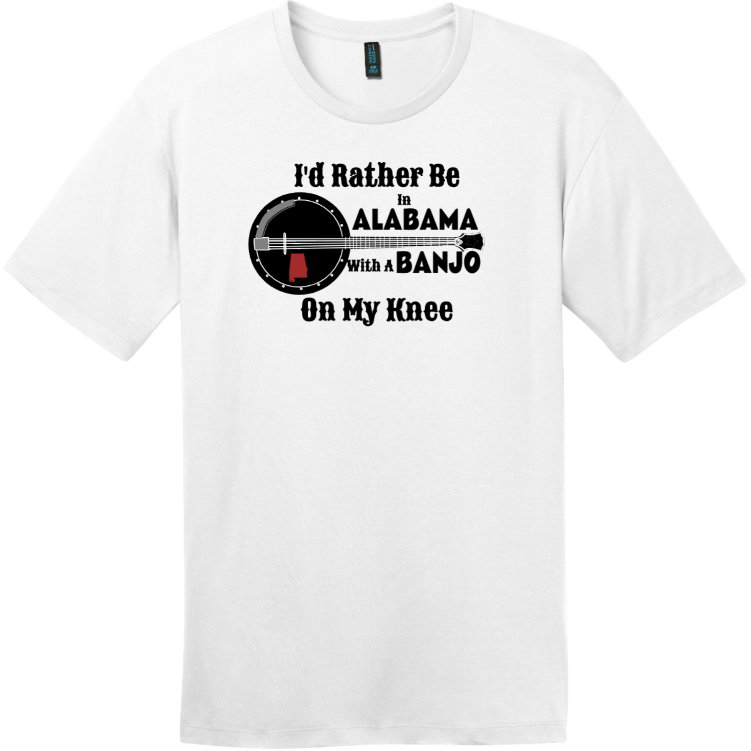 Rather Be In Alabama Banjo T-Shirt Bright White District Perfect Weight Tee DT104