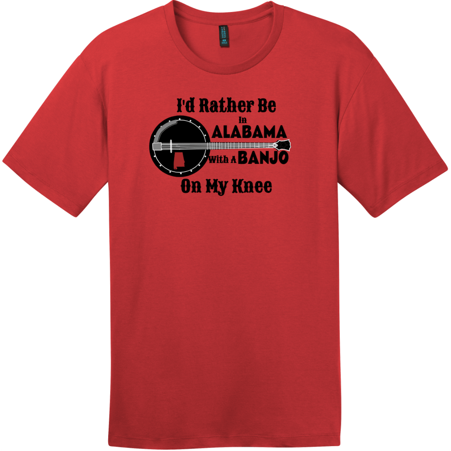 Rather Be In Alabama Banjo T-Shirt Classic Red District Perfect Weight Tee DT104