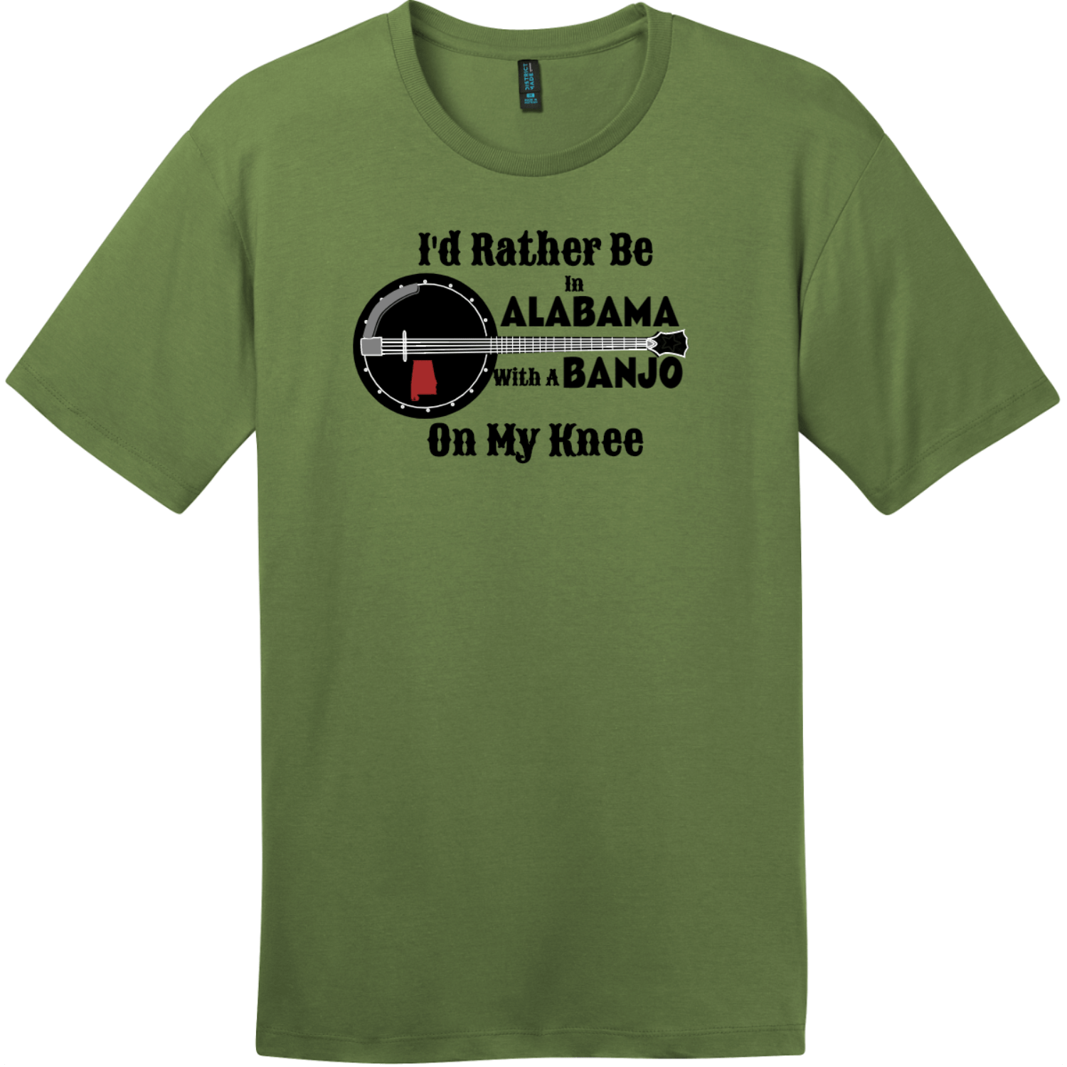 Rather Be In Alabama Banjo T-Shirt Fresh Fatigue District Perfect Weight Tee DT104