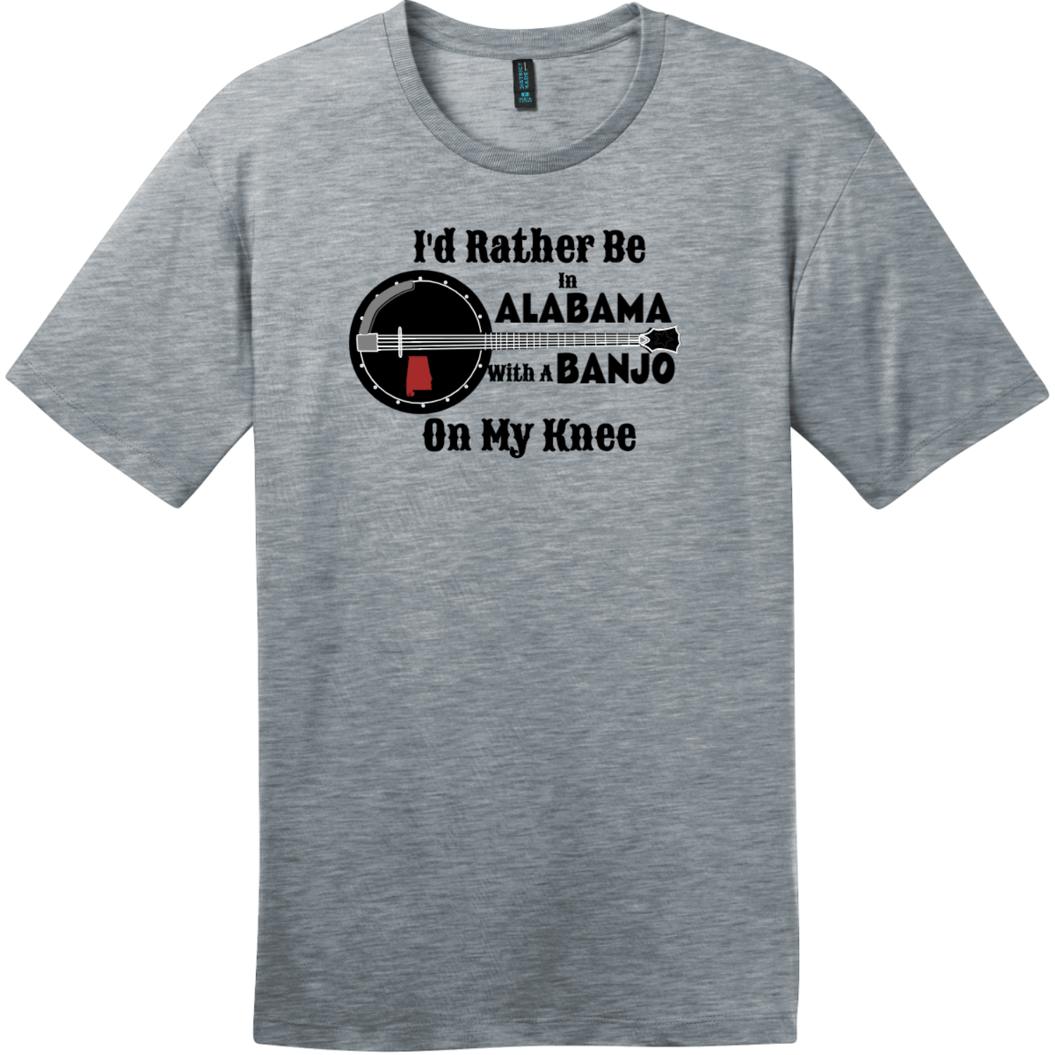 Rather Be In Alabama Banjo T-Shirt Heathered Steel District Perfect Weight Tee DT104
