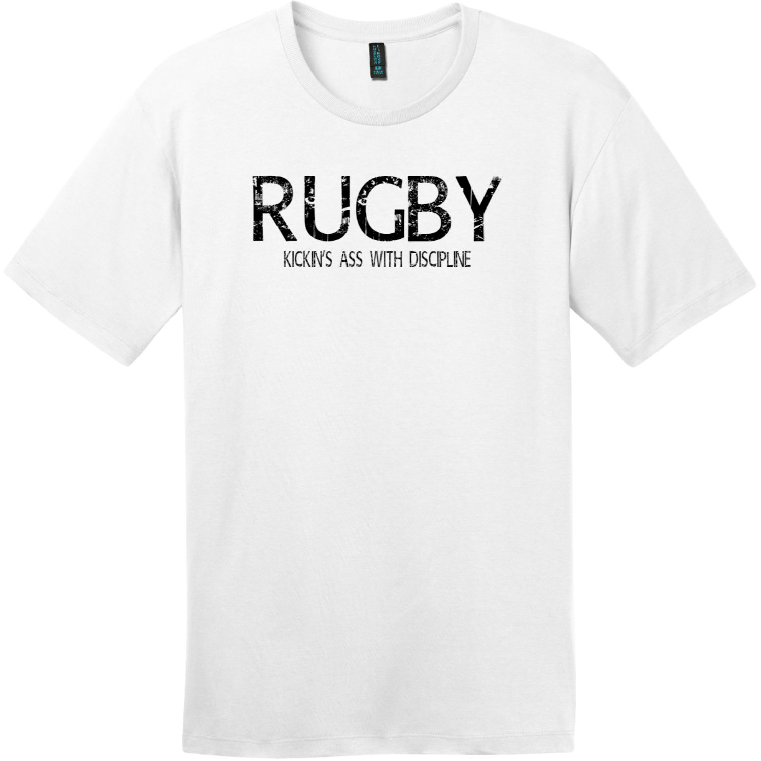 Rugby Kickin Ass With Discipline T-Shirt Bright White District Perfect Weight Tee DT104