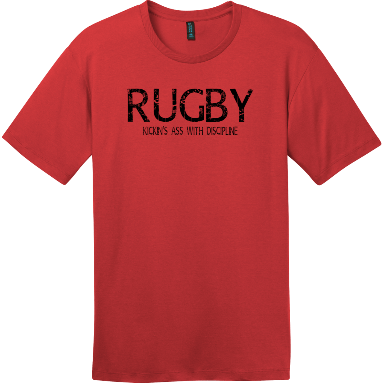 Rugby Kickin Ass With Discipline T-Shirt Classic Red District Perfect Weight Tee DT104