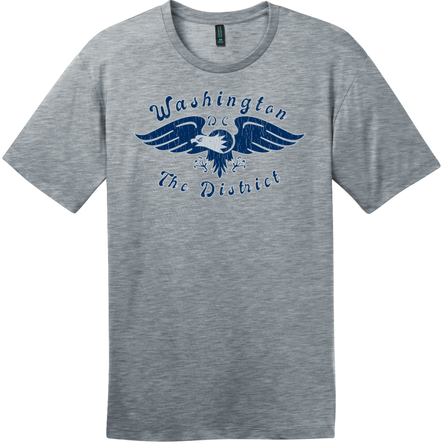 Washington DC The District Eagle T-Shirt Heathered Steel District Perfect Weight Tee DT104