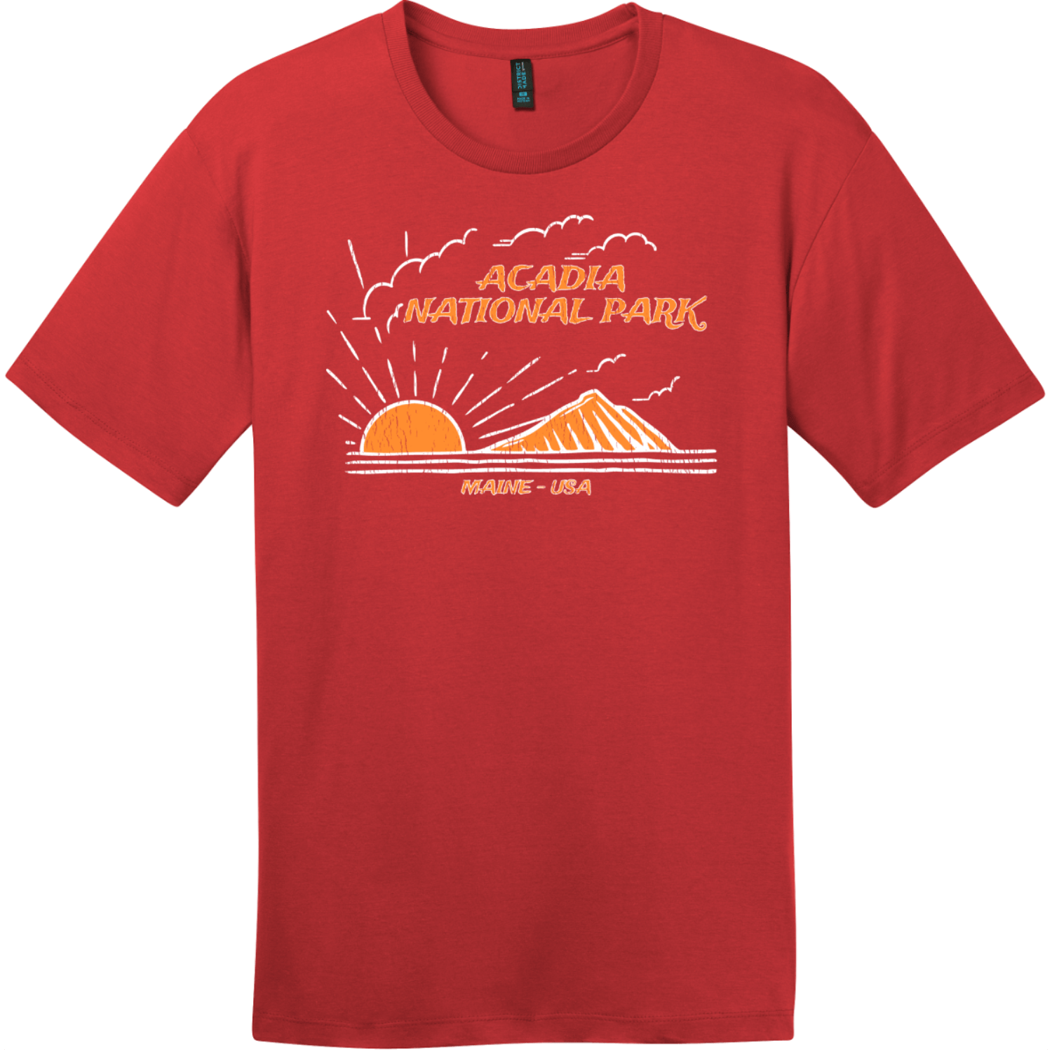 Acadia National Park Mountain To Sea T-Shirt Classic Red District Perfect Weight Tee DT104