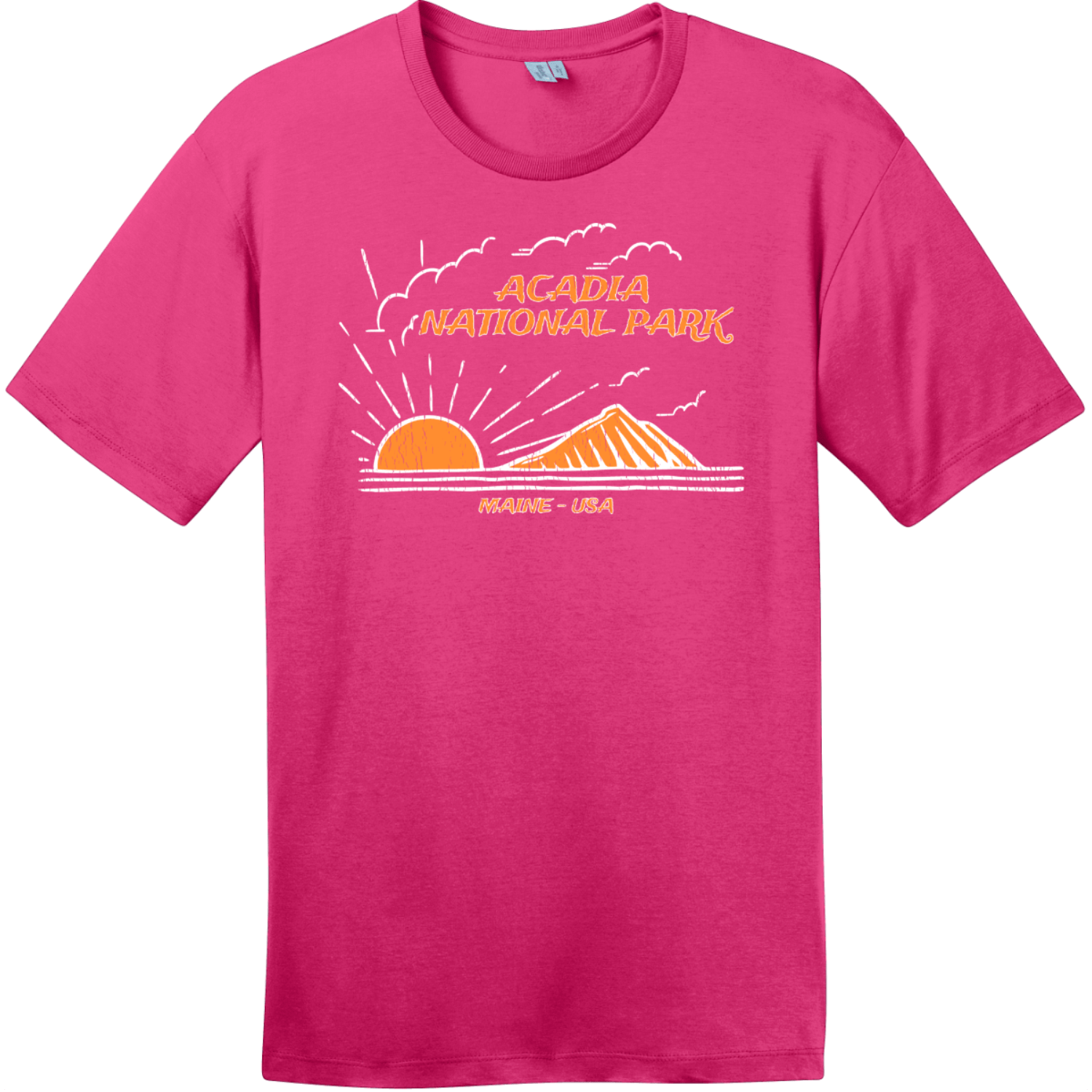 Acadia National Park Mountain To Sea T-Shirt Dark Fuchsia District Perfect Weight Tee DT104