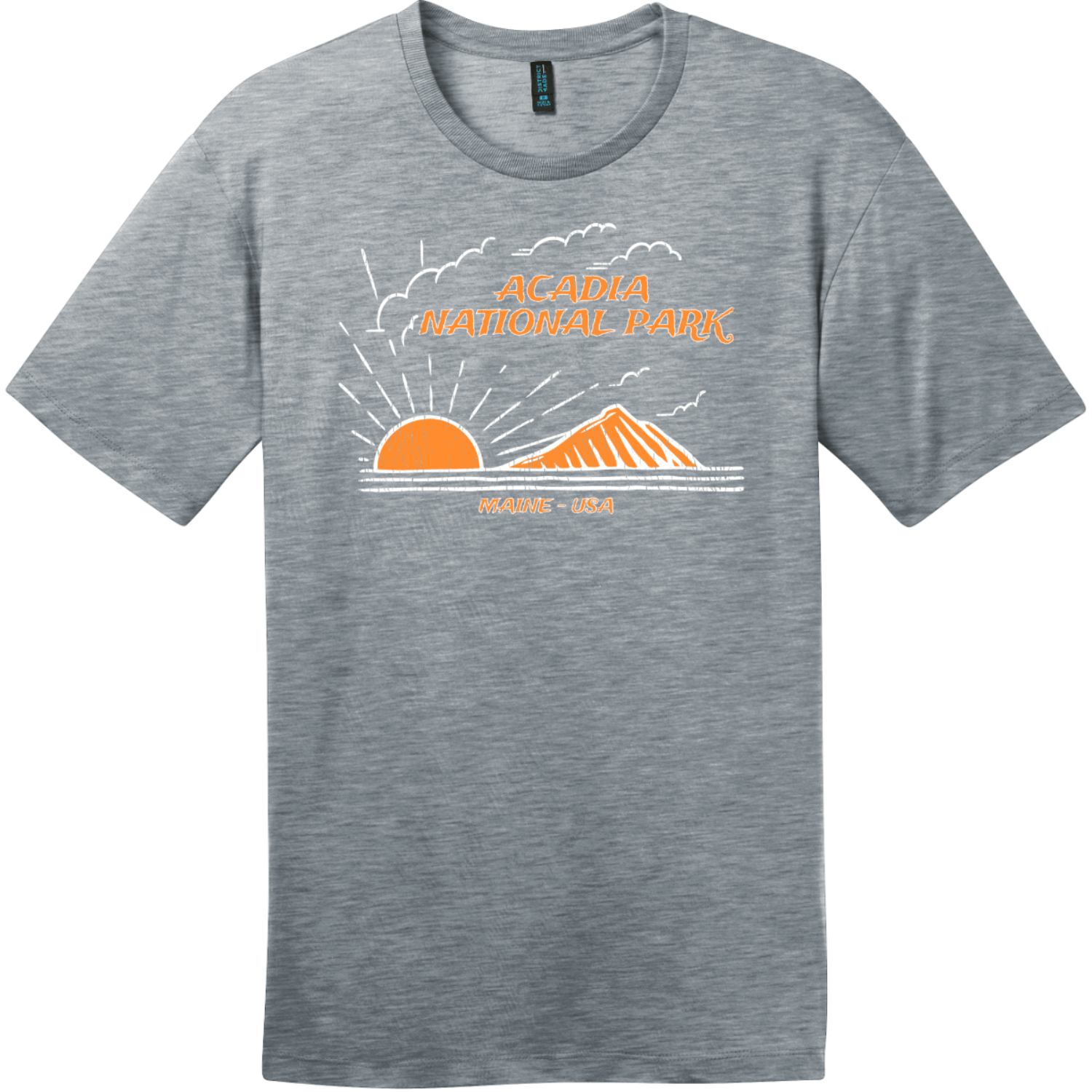 Acadia National Park Mountain To Sea T-Shirt Heathered Steel District Perfect Weight Tee DT104