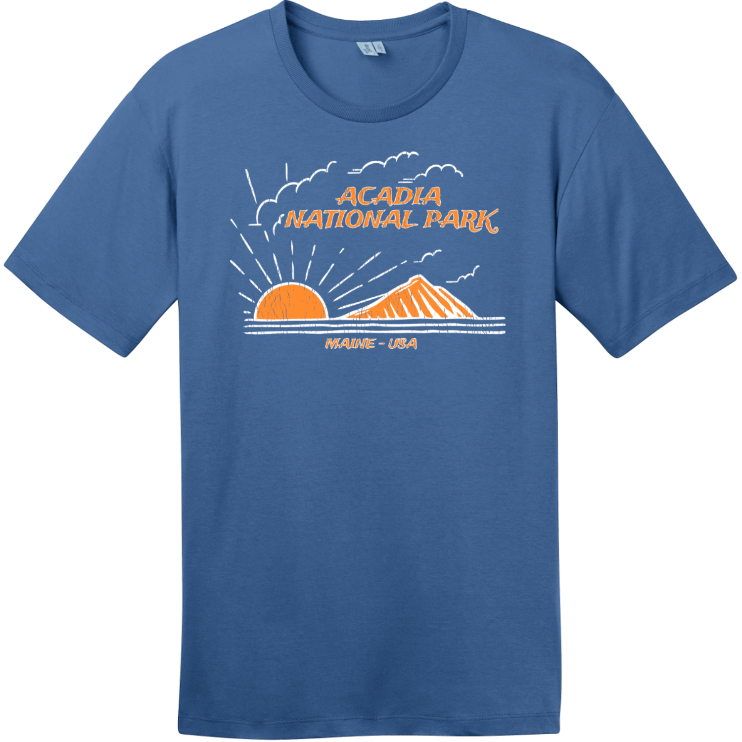 Acadia National Park Mountain To Sea T-Shirt Maritime Blue District Perfect Weight Tee DT104