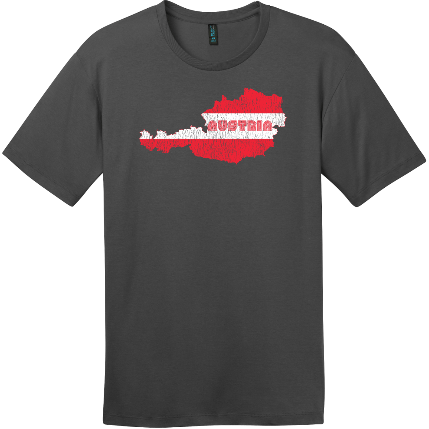 Austria Flag Country Retro T-Shirt Charcoal District Perfect Weight Tee DT104