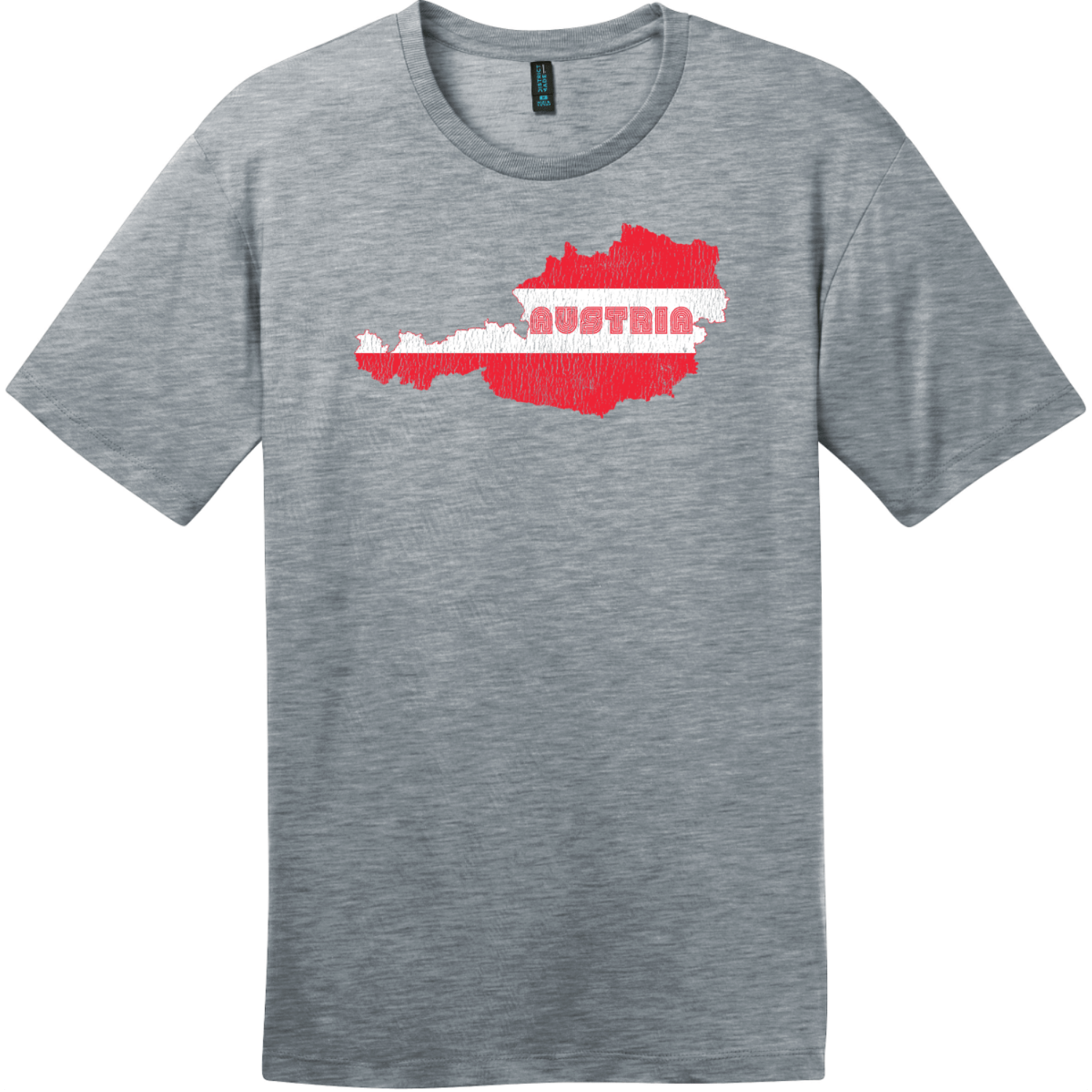 Austria Flag Country Retro T-Shirt Heathered Steel District Perfect Weight Tee DT104