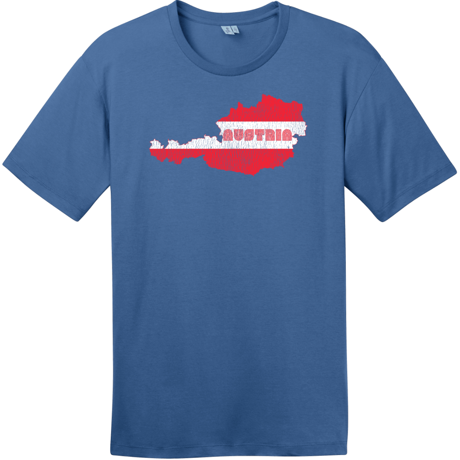 Austria Flag Country Retro T-Shirt Maritime Blue District Perfect Weight Tee DT104