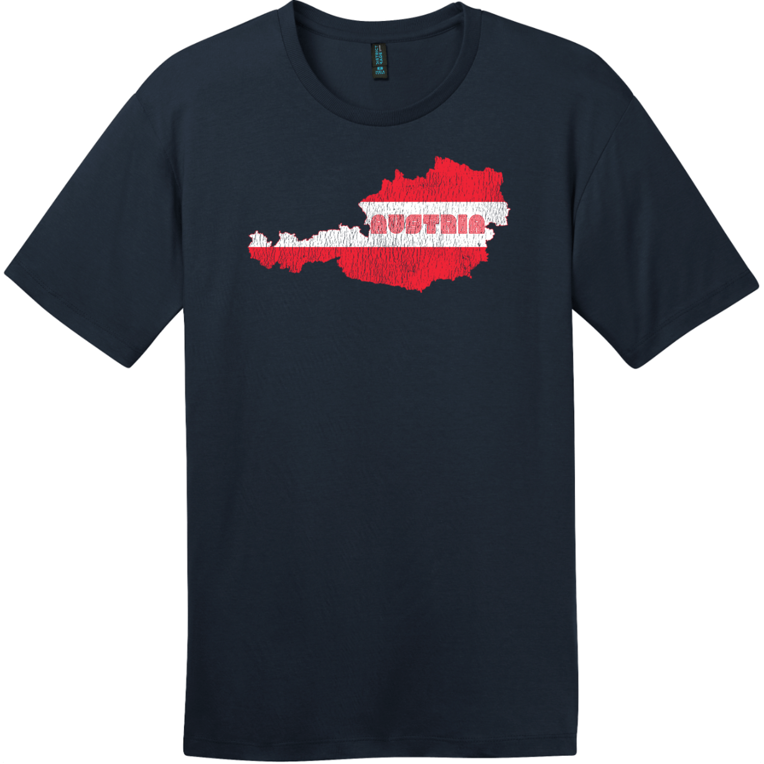 Austria Flag Country Retro T-Shirt New Navy District Perfect Weight Tee DT104