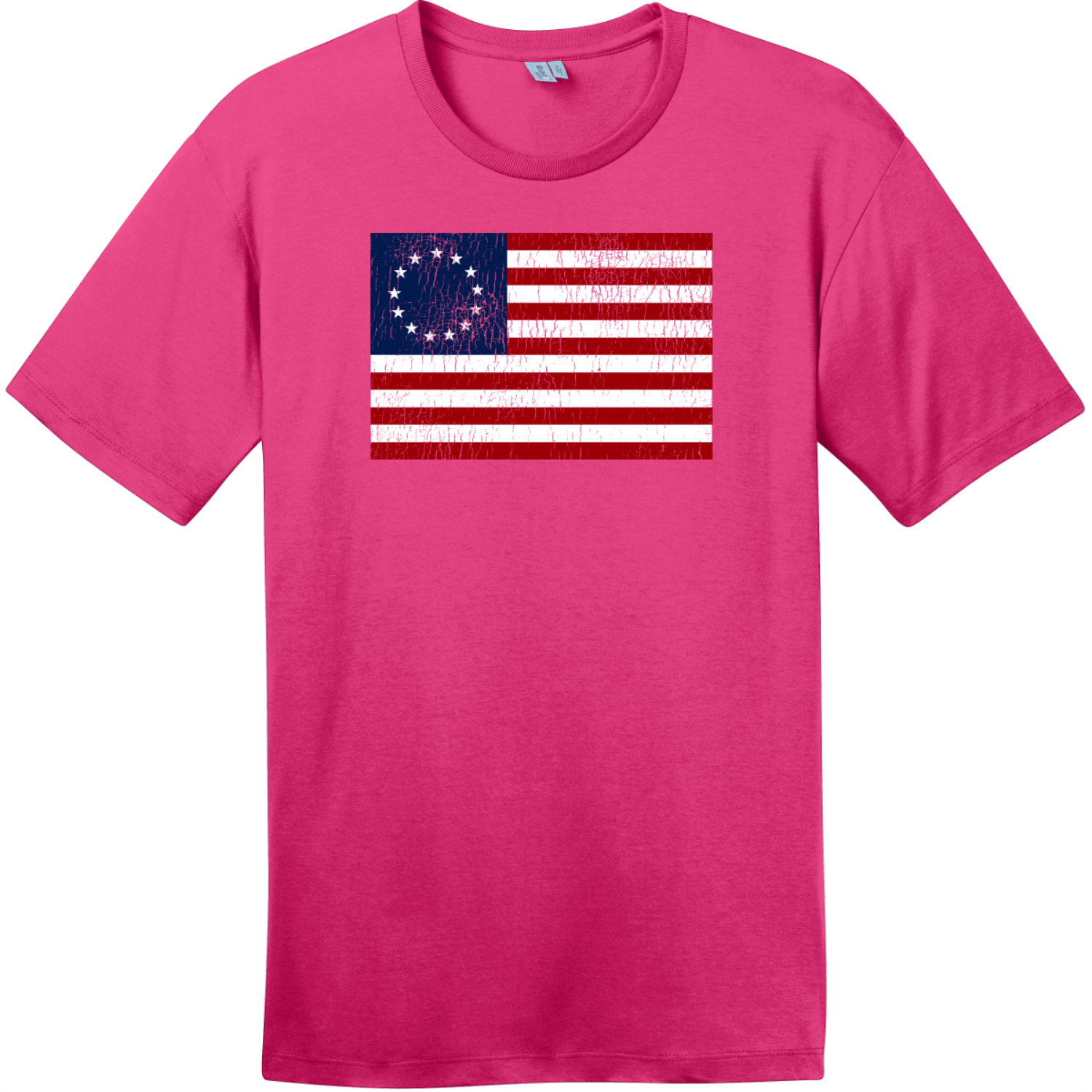 Betsy Ross American Flag Vintage T-Shirt Dark Fuchsia District Perfect Weight Tee DT104