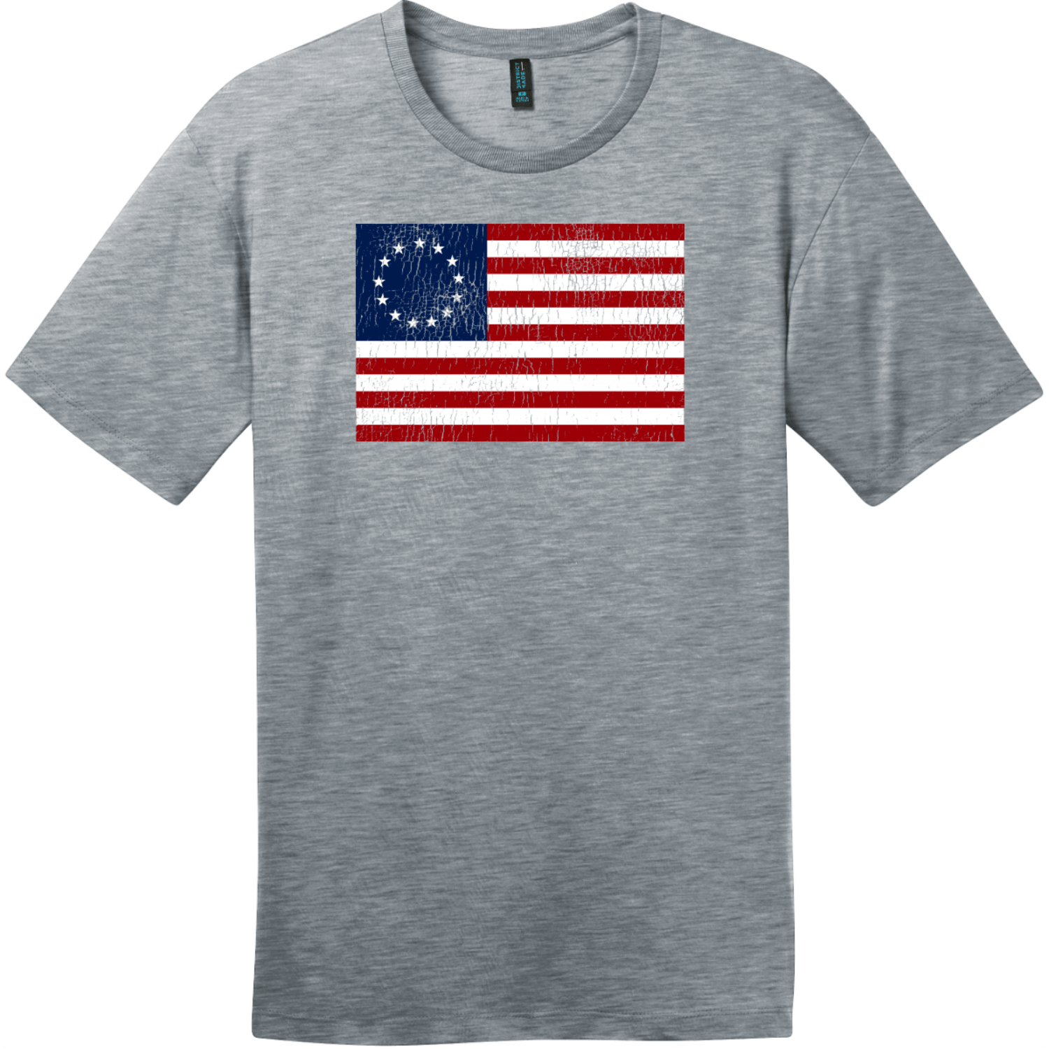 Betsy Ross American Flag Vintage T-Shirt Heathered Steel District Perfect Weight Tee DT104