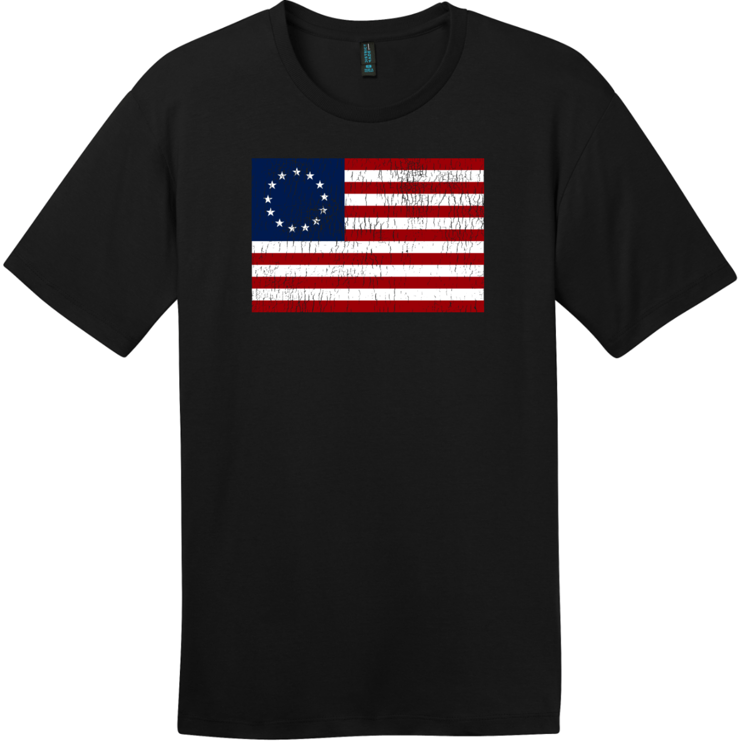 Betsy Ross American Flag Vintage T-Shirt Jet Black District Perfect Weight Tee DT104