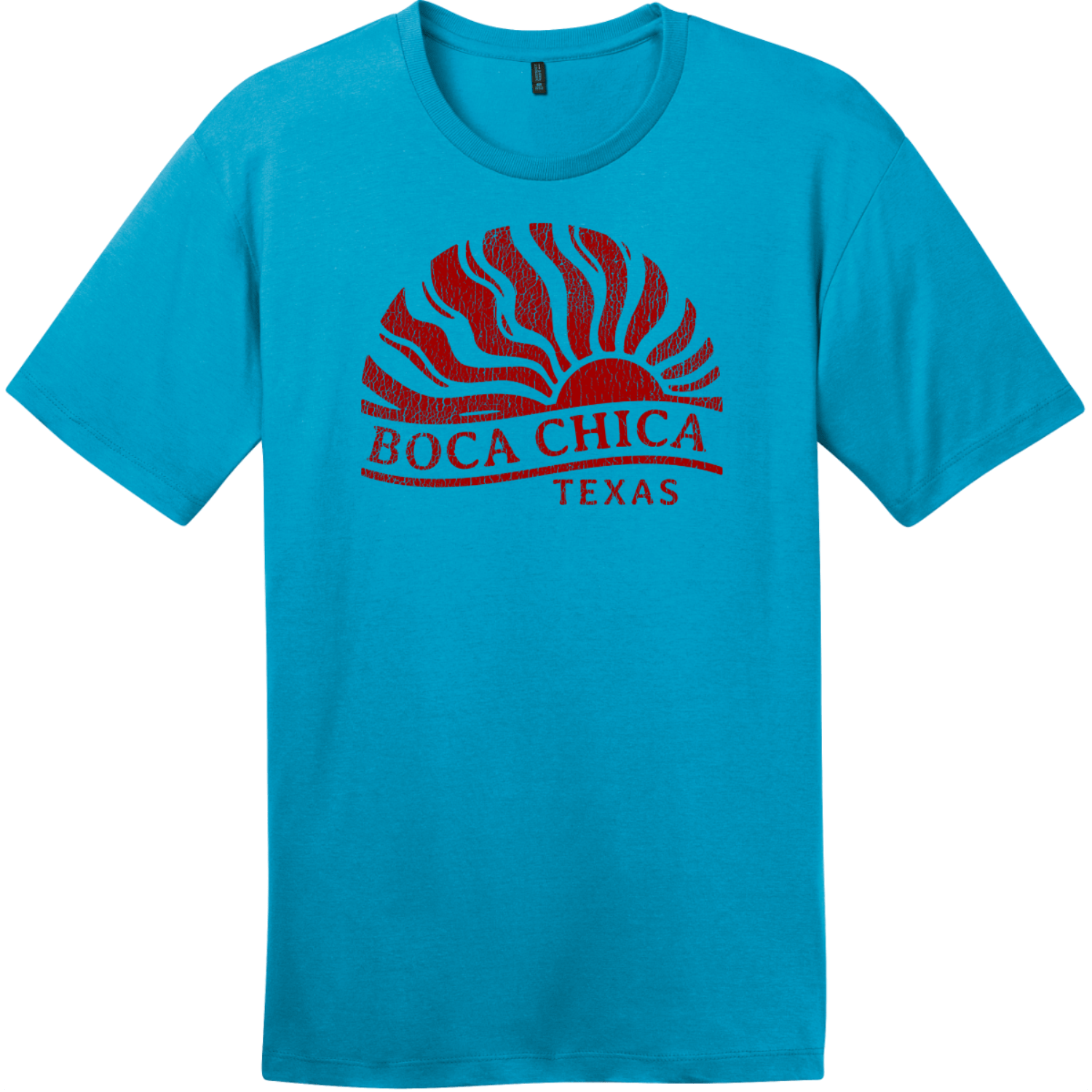 Boca Chica Texas Sun Vintage T-Shirt Bright Turquoise District Perfect Weight Tee DT104