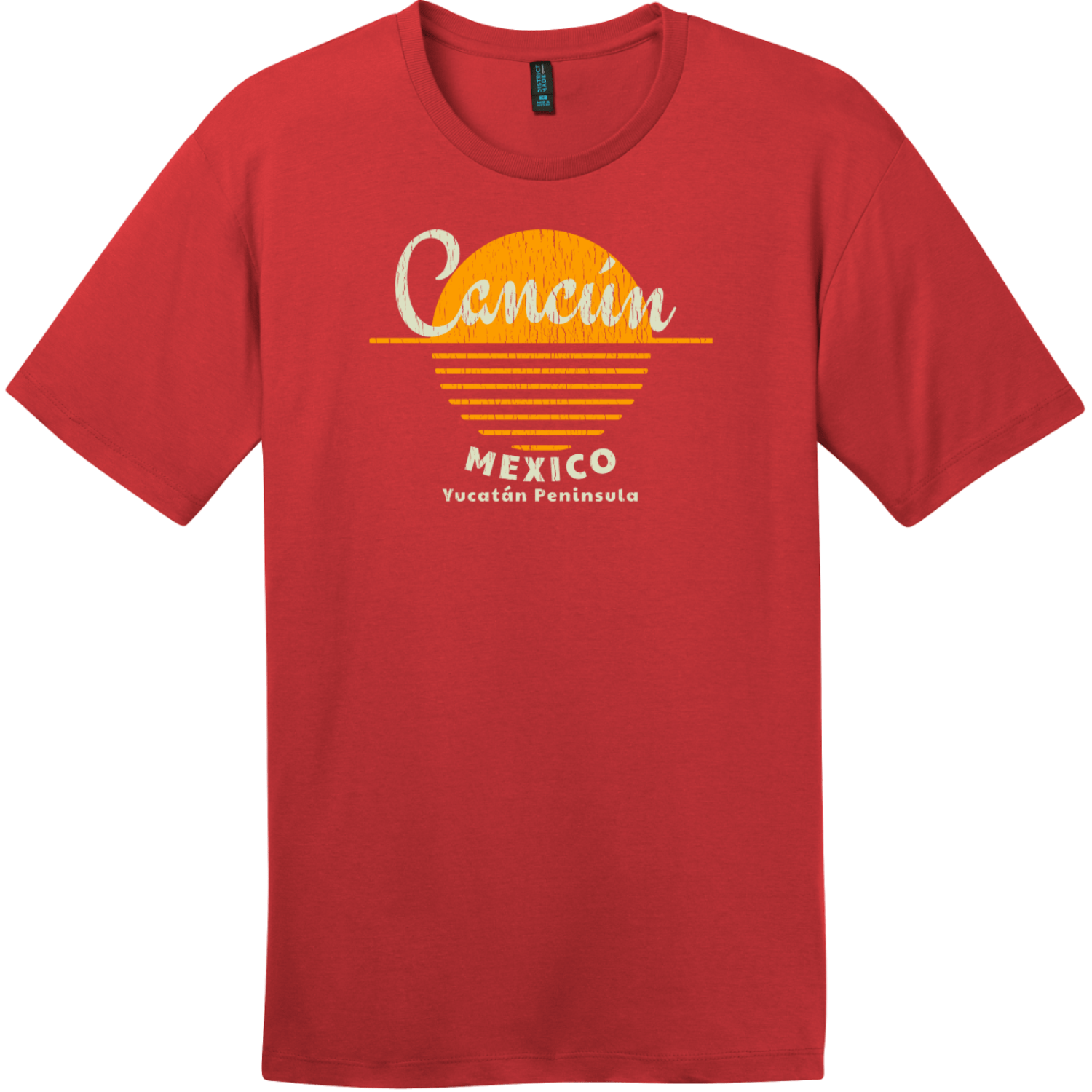 Cancun Yucatan Mexico Sun T-Shirt Classic Red District Perfect Weight Tee DT104
