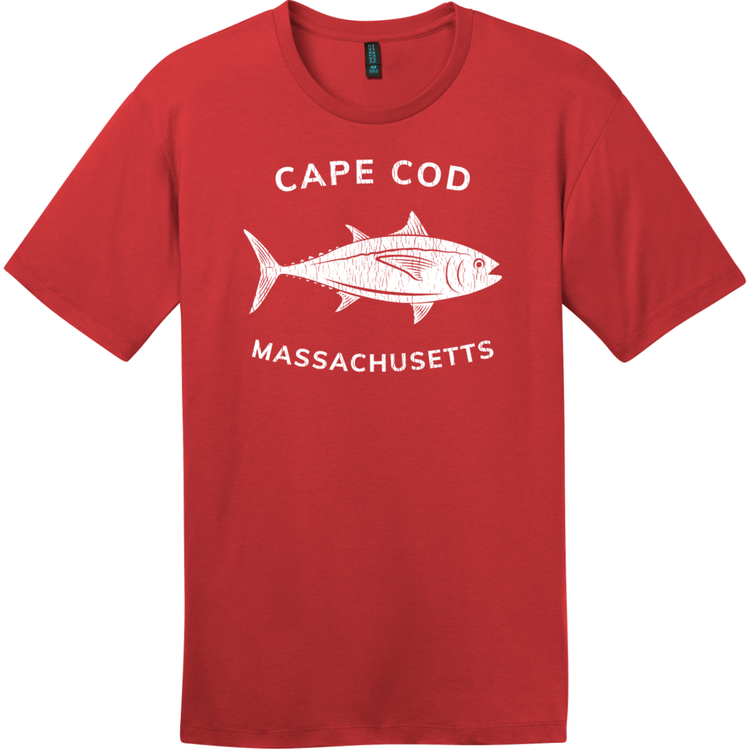 Cape Cod Massachusetts Tuna T-Shirt Classic Red District Perfect Weight Tee DT104