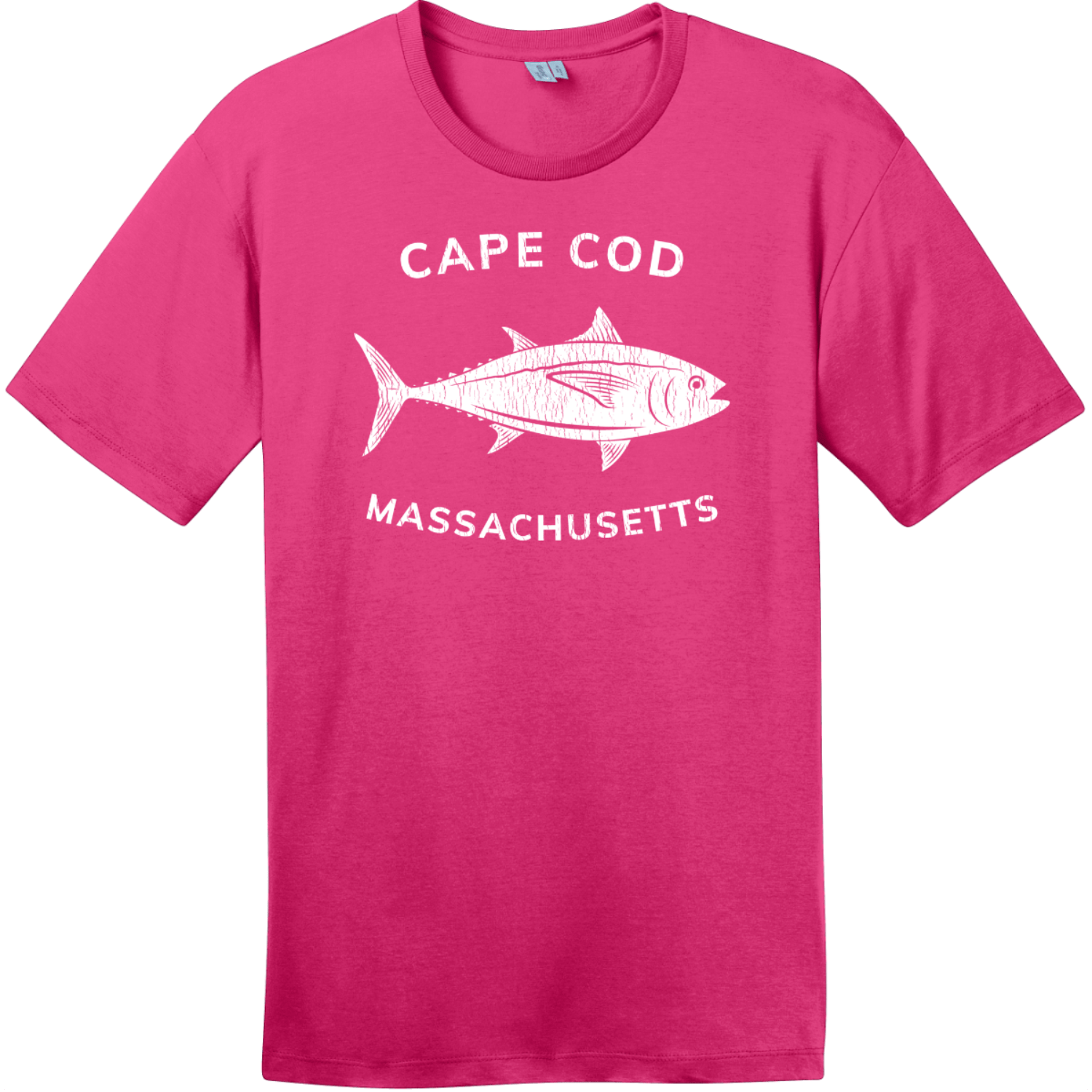 Cape Cod Massachusetts Tuna T-Shirt Dark Fuchsia District Perfect Weight Tee DT104