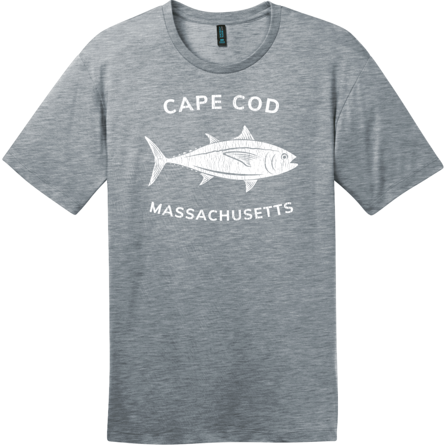Cape Cod Massachusetts Tuna T-Shirt Heathered Steel District Perfect Weight Tee DT104