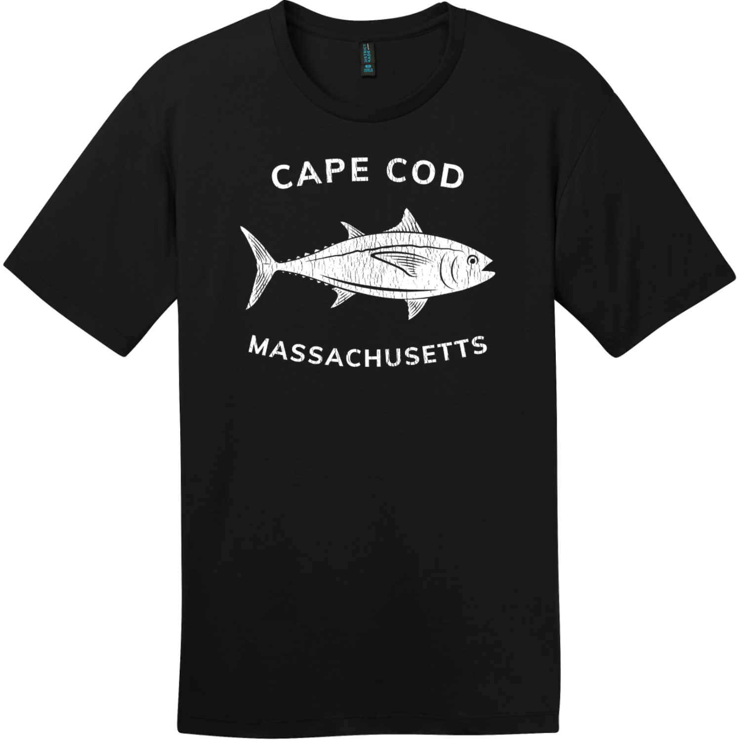 Cape Cod Massachusetts Tuna T-Shirt Jet Black District Perfect Weight Tee DT104