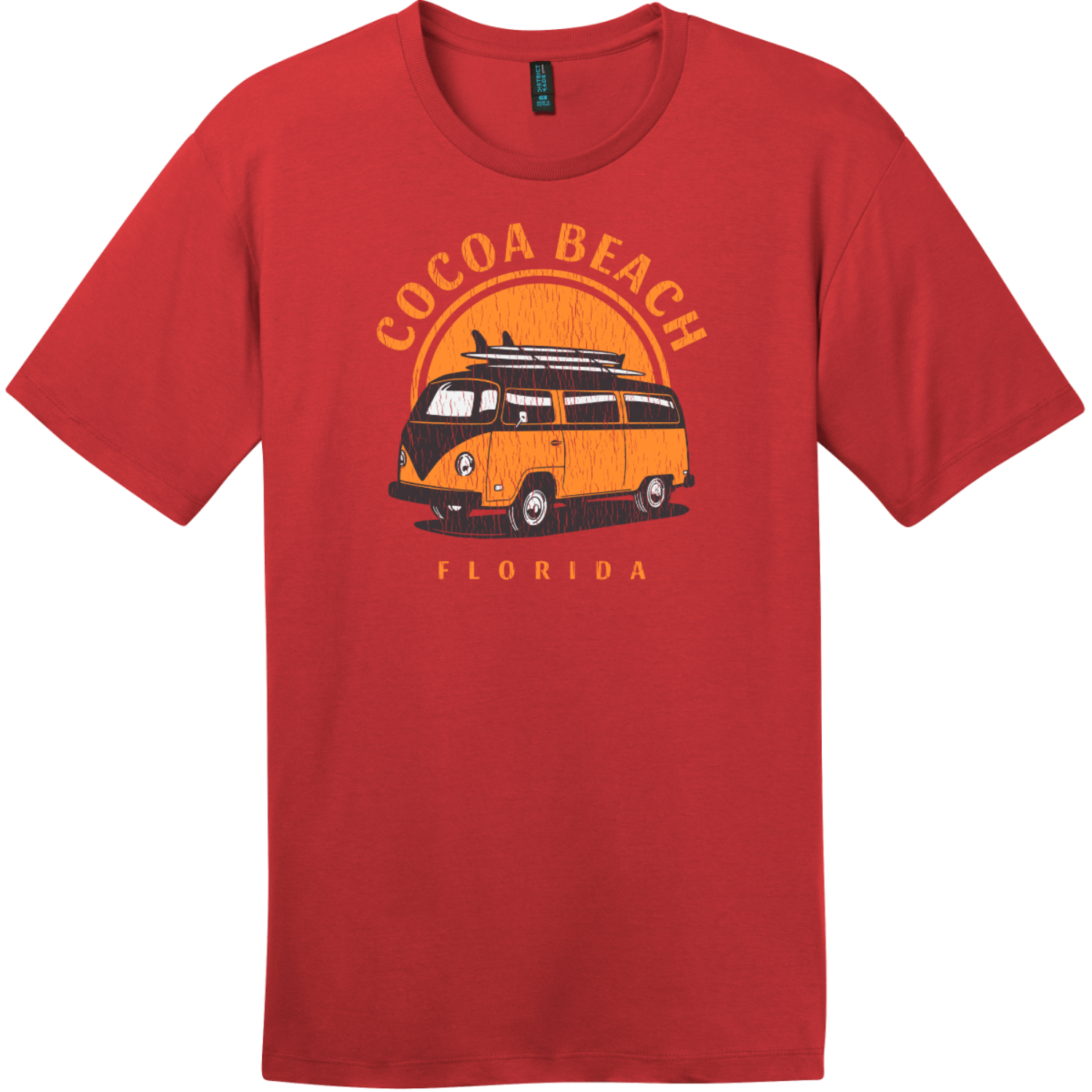 Cocoa Beach Florida Surf Van T-Shirt Classic Red District Perfect Weight Tee DT104