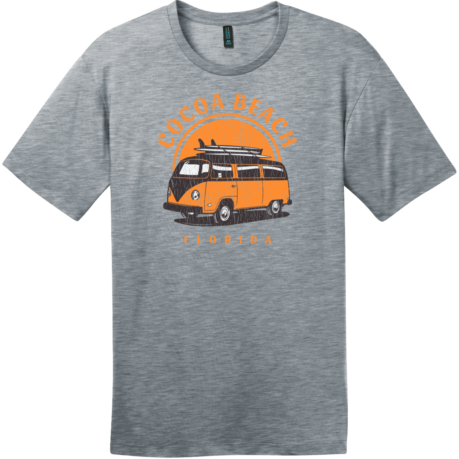 Cocoa Beach Florida Surf Van T-Shirt Heathered Steel District Perfect Weight Tee DT104