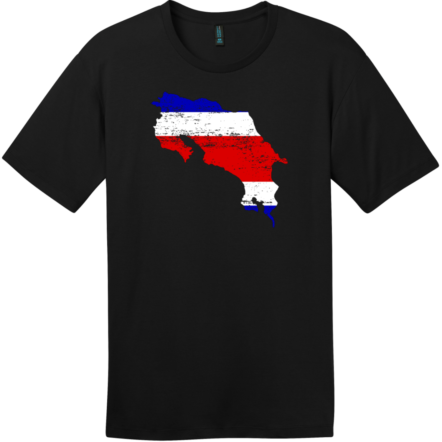 Costa Rica Country Shape Flag T-Shirt Jet Black District Perfect Weight Tee DT104